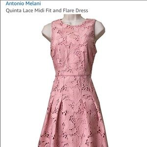 Antonio Melani pink lace midi dress. Sz.4